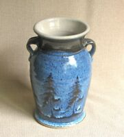 potterybydave - Stoneware Small Vase - Blue with Pine Tree design