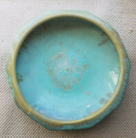 Fulper Pottery Bowl Jade Green Mottled Crystalline Glaze Signed Arts and Crafts