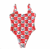 Coca Cola Swimsuit Checkered One Piece Swimsuit Coke Soda Summer Women#x27;s S