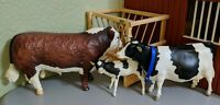 Breyer Traditional • Cow Lot • Hereford Bull amp; Holstein Cow • With Hay Feeder