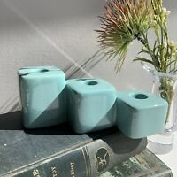 Vintage Royal Haeger Candle Holder MCM Turquoise 3 Tier Art Pottery By Hickman