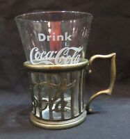 1970#x27;s Vintage Coca Cola Soda Fountain Glass w Metal Coca Cola Holder