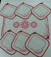 7 Vintage Linen Cotton Dinner Easter Napkins with embroidery Set of 7 USSR