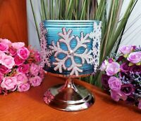 BATH amp; BODY WORKS GLITTER SNOWFLAKES amp; GEMS 3 WICK PEDESTAL CANDLE HOLDER NEW