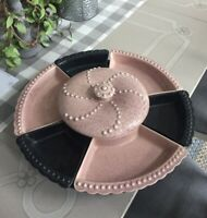 William Frazier California Pottery Lazy Susan Pink And Black with Turntable