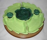 WONDERFUL Vintage CALIFORNIA POTTERY Lazy Susan Relish Tray Salt Pepper Green