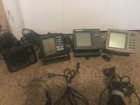 4 Separate Used Fishfinders 3 EAGLE and 1 LOWRANCE. FISH FINDERS