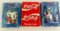 Lot of 3 Decks Coca Cola Playing Cards Christmas Bears and Branded