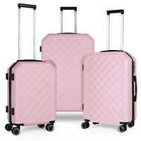 3 Piece Set HardShell 360 Spinner Luggage Set for Carry On Checked amp; TravelPink