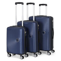 Set of 3 ABS Luggage Hardside Spinner Lightweight Durable Spinner Suitcase Blue