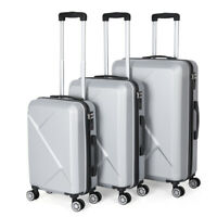 3 Set Hardside Luggage case with Spinner WheelsSilver Suitcase for Travel