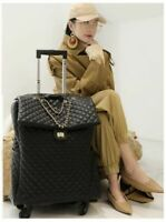 Cabin Travel Faux Leather Trolley Suitcase On Wheels Luggage Bag For Women
