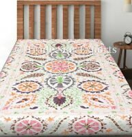 Handmade Twin Bedspread Uzbek Suzani Embroidery Bed Cover Vintage Bedding Throw