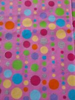 Pink With Multi Color Polka dot Flannel Fabric 2 Pieces 42x35 Each
