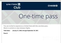 United Airlines Club Lounge pass exp 9 30 21. Will email e pass immediately.