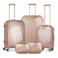 5 Pieces Travel Spinner Luggage Set ABS Trolley Carry On SuitcaseRose Gold