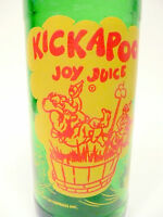 vintage ACL Soda POP Bottle: green KICKAPOO JOY JUICE from NUGRAPE 10 oz ACL