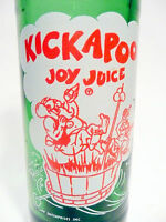 vintage SODA pop BOTTLE green KICKAPOO JOY JUICE from NUGRAPE 10 oz ACL