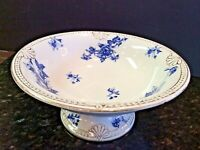 FLOW BLUE & GOLD China Footed Compote Bowl Adamantine Wheeling Pottery