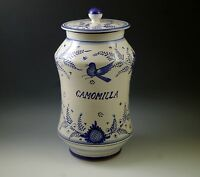 DERUTA POTTERY ITALY BLUE BIRD APOTHECARY JAR BISCOTTI JAR 12quot; BLUE WHITE