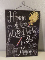 HOME OF THE WICKED WITCH & HER LITTLE MONSTERS HALLOWEEN SIGN BLACK CAT BROOM
