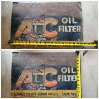 Vintage 1934 AC Oil Filter Change Sign - Americana, Collectible, Antique Garage