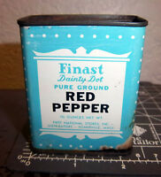 Vintage Finast Dainty Dot RED PEPPER 1.75 oz spice tin, Great graphics