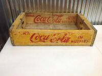 Vintage DRINK COCA-COLA Wooden Case Box Yellow Red Soda Sign Crate-Chattanooga