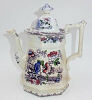 ANTIQUE 1800'S STAFFORDSHIRE FLORAL SCENE TRANSFERWARE TEAPOT PITCHER WITH TOP