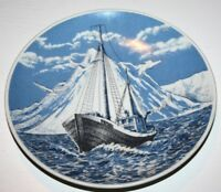 Norwegian fishing boat ship vessel Collectable Porcelain plate Porsgrund Norway