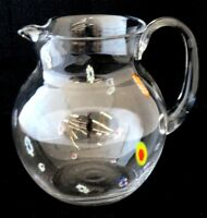 Vintage Clear Glass Millefiori Flower Cane Large Pitcher w/ Ice Lip