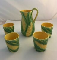 Vintage Vallona Starr Pitcher & 4 Cups Corn Pattern Excellent Condition