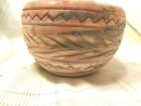 COMANCHE INDIAN POTTERY  SWIRL PATTERN.DRAIN HOLE PLANTER