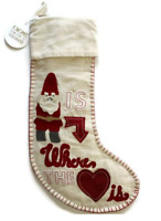Pottery Barn Gnome is Where The Heart Christmas Stocking NEW Tags Wool Cotton