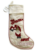 Pottery Barn Gnome Sweet Home Christmas Stocking NEW Tags Wool Cotton