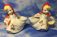 Antique Hull Pottery Little Red Riding Hood Open Sugar & Creamer Pitcher RGVC