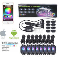 Bright 8 Pods RGB LED Rock Lights Offroad Music Wireless Bluetooth Control ATV
