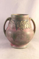 Burley Winters Handled Vase with Leaf and Bud Decor Pink and Green Mottled Glaze