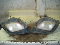 SUZUKI 250 OZARK ATV OEM HEADLIGHTS W/ BUCKETS ( ROUGH )   CJ3