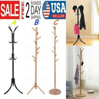 Coat Rack Tree Stand Clothes Holder Hat Hanger Hall Stand Umbrella Wood US Stock