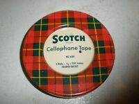 Vtg Scotch Brand Cellophane Tape Red Plaid Metal Container #600