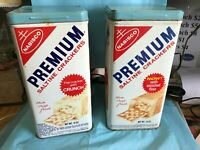TWO NABISCO PREMIUM CRACKERS TINS-1969-EACH DIFFERENT-------------------bg
