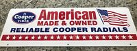 Cooper Tires Metal Sign 1970s 80s Thick Double Sided American Made