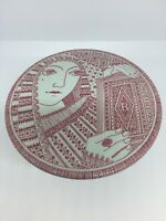 """VTG Nymolle Large Candy Trinket Dish, 5"""" Red & Off-White """"Decamerone"""" J.Bang"""