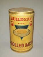 Scarce antique vtg 1930s Builders Brand Rolled Oats Cardboard Box Can 3 Lb Size