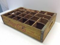Vintage Coca-Cola Coke Yellow Wood Bottle Crate With Dividers Carrier P42