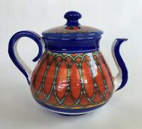 Hand-painted Made In Italy Pottery Teapot Red White Blue Geometric Pattern 6.5