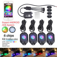 6 Chips 8 Pods RGB LED Rock Lights Offroad Music Wireless Bluetooth Control ATV