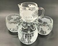 A Set 4 Vintage 1970's Nescafe World Globe Frosted Coffee Cups & glass creamer