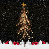 3Ft Christmas Tree With Stand +LED Xmas Snow White Fir Indoor Outdoor Green US